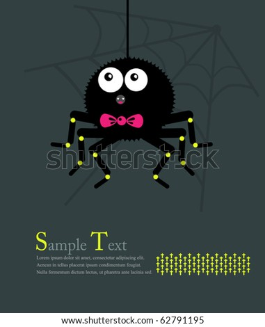 Spider with a bow down on the web. Illustration