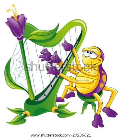 Spider with harp. Funny cartoon and vector character, isolated object