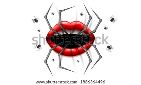 spider with lips on white