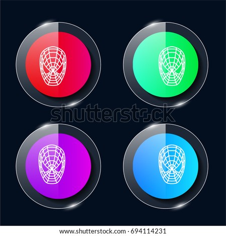 Spiderman four color glass button ui ux icon. Glossy app icon logo vector