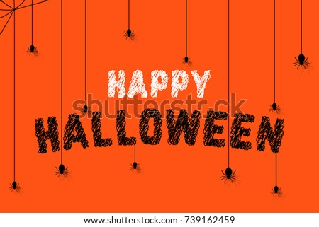 spiders on scribble happy halloween text. hand drawn flat modern sketch graphic art design isolated on orange background. concept of american terrible holiday for kids or retro banner with cobweb