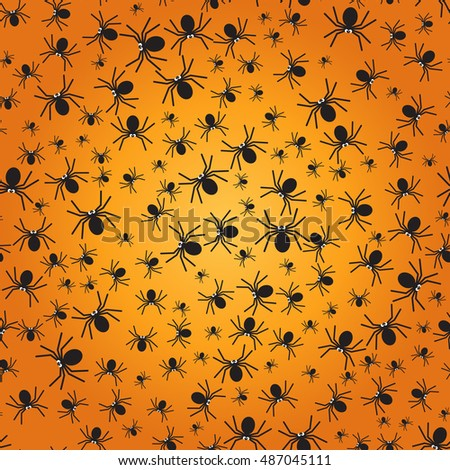 Spiders seamless pattern. Black spiders silhouette. Halloween background. Vector illustration #487045111
