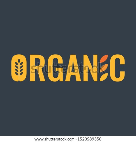 spike symbol and organic word. vector organic word. organic word logo