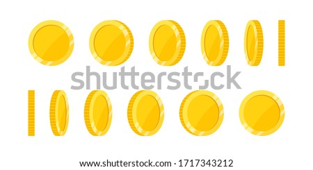 spin gold coin on white