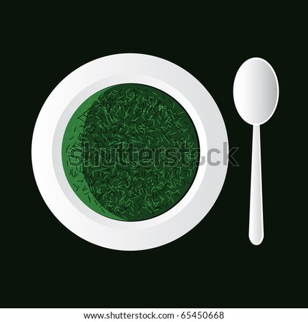 spinach soup in white bowl and spoon