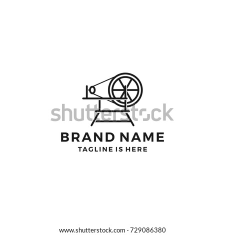spindle mill loom weaving tufting machine textile fabric logo template vector icon illustration