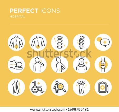 Spine, backbone line icons. Orthopedics clinic, medical rehab, back trauma, broken bone, posture correction, scoliosis. Health care thin linear hospital signs.