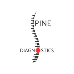 spine diagnostics logotype with pain sign. concept diseases of back, diagnostic center, preventive therapy. isolated on white background. flat style trendy modern logo design vector illustration