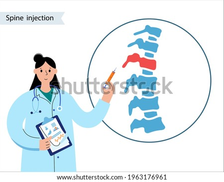 Spine joint injection. Pain and inflammation in the vertebra. Spinal arthritis disease concept. Medical research in spine center. Backbone treatment flat vector illustration for clinic or hospital. Stock photo ©
