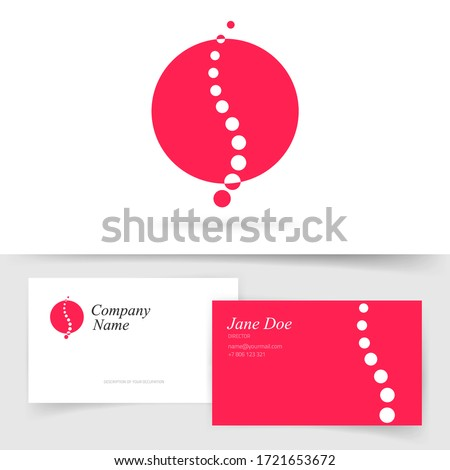 Spine or spinal logo for healthcare and massage orthopedic therapy diagnostic vector flat modern symbol design on business visiting card template, chiropractic or osteopathy diagnostic center concept