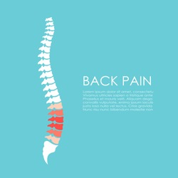 Spine pain vector poster on blue background