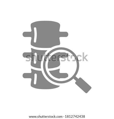 Spine with magnifying glass grey icon. Vertebrae research symbol Stock photo ©