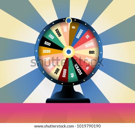 spinning fortune wheel, lucky roulette vector illustration