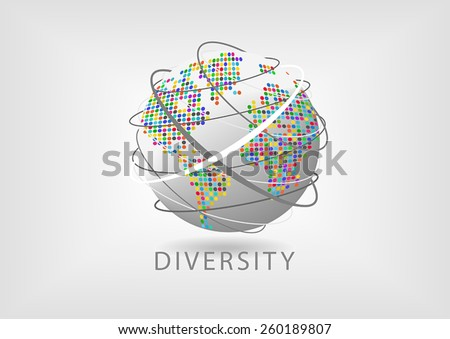 Spinning globe with dotted colorful map and lines representing communication. Concept of diversity around the world