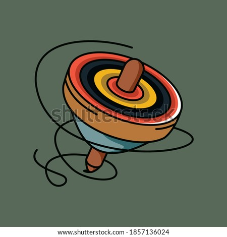 Spinning top toy vector illustration. Colorful humming-tops icon. Foto stock ©