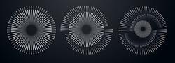 Spiral abstract circle set. vector illustration design graphic spiral electro waves