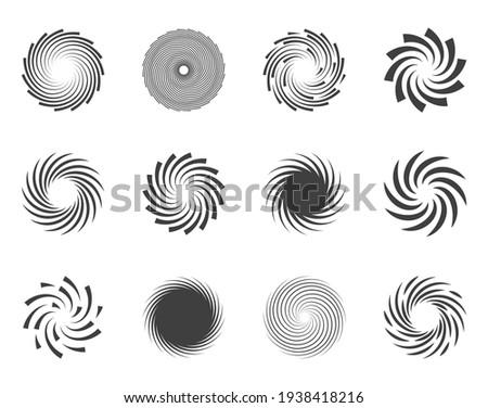 Spiral and swirl motion twisting circles design element set