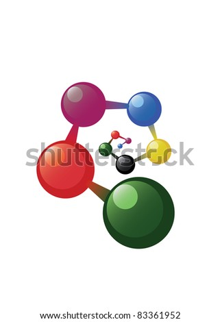 Spiral atom model on the white background