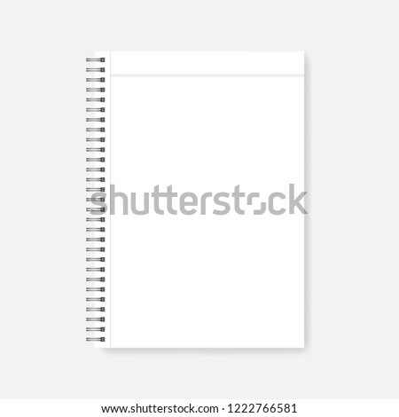 Spiral blank notebook page with margins, realistic mock-up. Wire bound empty white A4 notepad vector template.