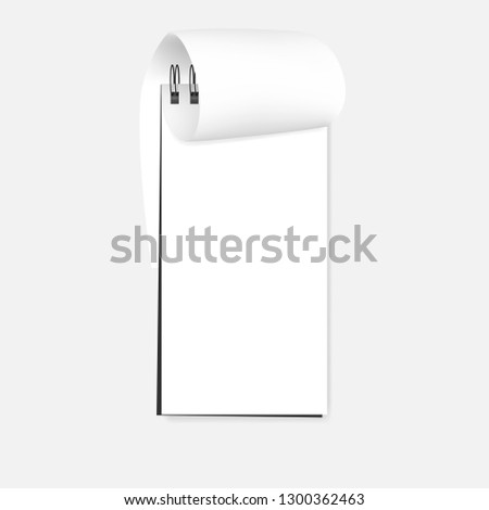 Spiral blank reporter notebook with bent page, realistic vector mockup. Open wire bound notepad - white clear paper sheet, template.