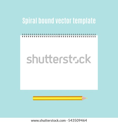 Spiral bound horizontal notepad and pencil. Childish album for artwork, education and drawing. Template or mock up. Easy to place your image on the cover.Top view.