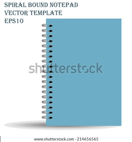 Spiral bound notepad. Vector template. Easy to place your image on the cover.