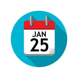Spiral calendar page with single day. 25th of January. Round icon with shadow.