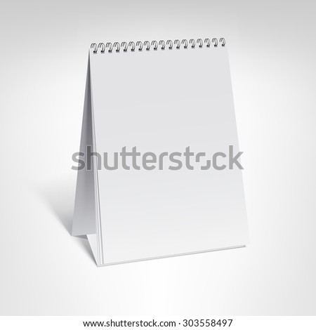 Spiral calendar vector template. Vertical table calendar with blank pages and black spiral with soft shadows isolated on white background.