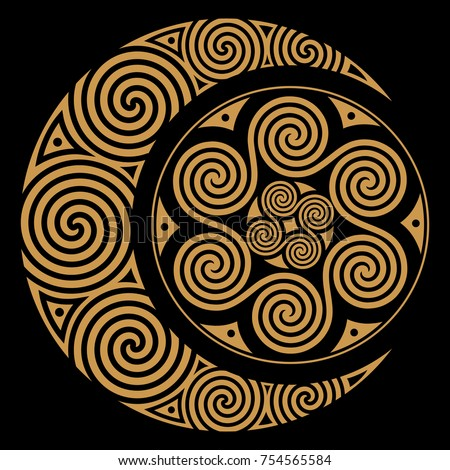spiral celtic moon and celtic