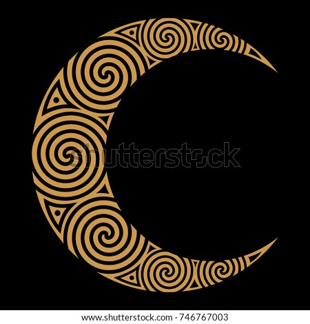 spiral celtic moon  isolated on