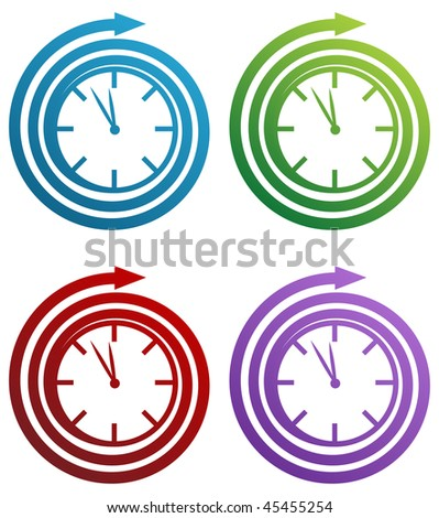 spiral clock icon set isolated