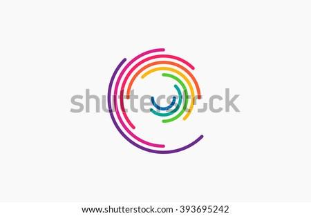 Spiral design logo. Round logo design. Creative logo. Web logo. Colorful logo.