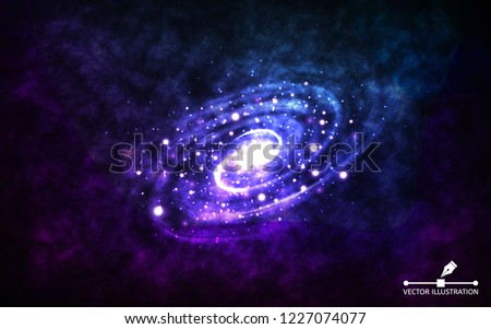 Spiral galaxy on space background. Realistic abstract galaxy with color nebula. Cosmic backdrop with stardust and shining stars. Bright colorful milky way for banner, poster, advertising. Vector