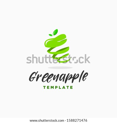 spiral green apple logo design