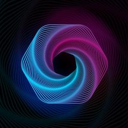 Spiral hexagon. Radial sound wave. Geometric pattern. Swirl lines and waves banner. Futuristic web wallpaper. Spirograph. Motion pulse. Geometric line art. Vector illustration.