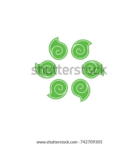 spiral leaves in circle symbol
