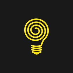 Spiral light bulb line vector logo template art eco energy power electricity idea concept