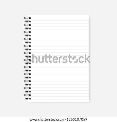 Spiral lined blank notebook, realistic mock-up. Wire bound white paper notepad template. A4 diary, mockup.
