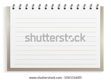 Spiral notebook with lined sheets