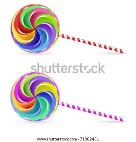 Spiral rainbow lollipop - isolated on white background