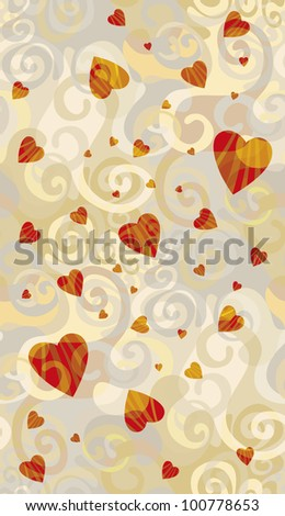 Spiral seamless background with hearts for your valentine.