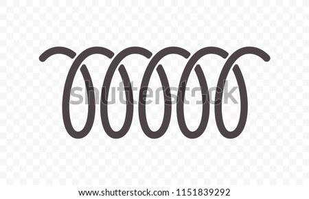 Spiral spring vector logo icon of swirl line or curved wire cord pattern