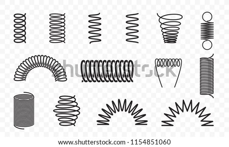 Spiral springs different shapes and types vector icons of swirl line or curved wire cords, shock absorbers or equipment parts on transparent background