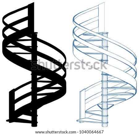 Spiral Staircase Vector Isolated On White 20