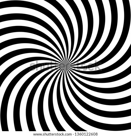 Spiral Swirl Radial Hypnotic Psychedelic   illusion rotating background Vector black and white