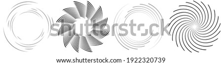 Spiral, swirl, twirl element set. Rotating circular and concentric shapes vector Illustration. Volute, helix and curlicue designs Foto d'archivio ©
