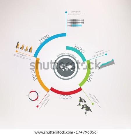Spiral Timeline Infographics. Vector design template.