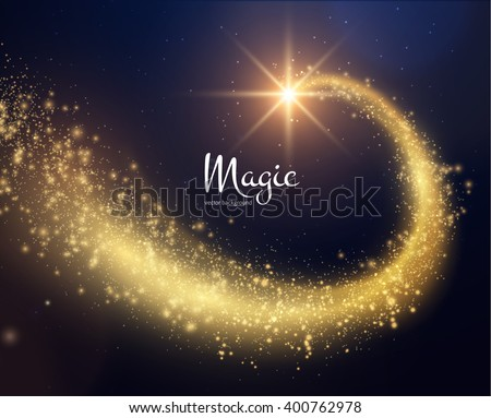 Spiral trail shooting star vector christmas background. Vector eps10.