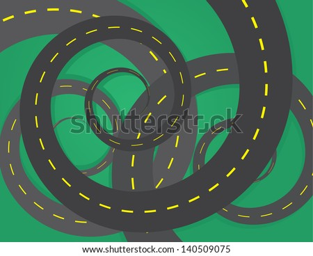 spiraled roads on top of one