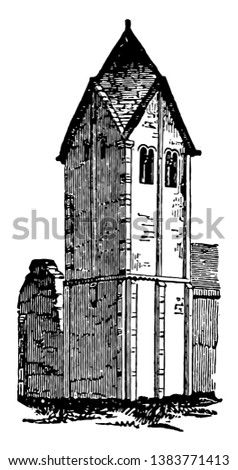 Spire is a steeple that diminished, stop of a building, often a skyscraper, one mounted on the recently, vintage line drawing or engraving illustration.